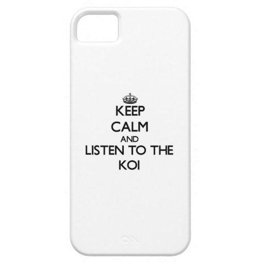 Guarde la calma y escuche el Koi iPhone 5 Case-Mate Carcasas