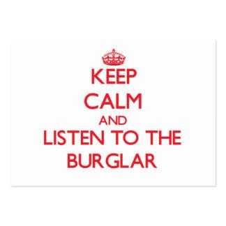 Guarde la calma y escuche el ladrón plantilla de tarjeta de negocio