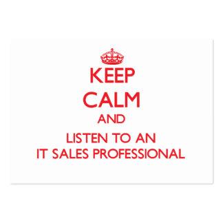 Guarde la calma y escuche él las ventas profesiona tarjetas de visita grandes