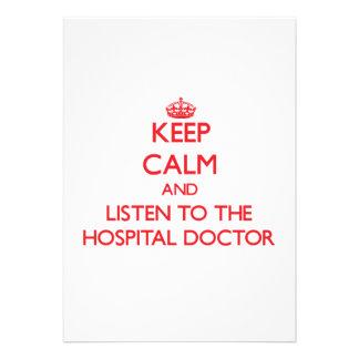 Guarde la calma y escuche el médico de hospital invitación
