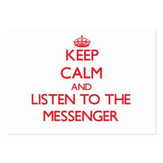 Guarde la calma y escuche el mensajero plantillas de tarjeta de negocio