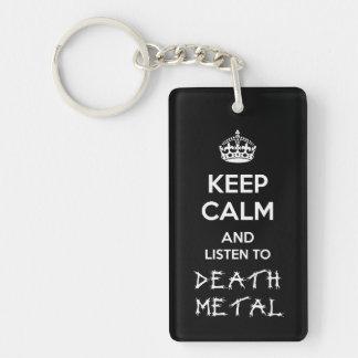 Guarde la calma y escuche el metal de la muerte llavero rectangular acrílico a doble cara