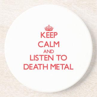 Guarde la calma y escuche el METAL de la MUERTE Posavasos Cerveza