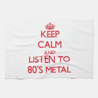 Guarde la calma y escuche el METAL de los años 80 Toalla De Mano