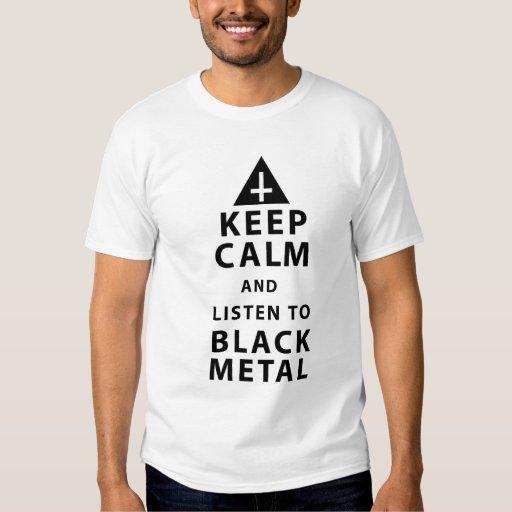guarde la calma y escuche el metal negro playeras