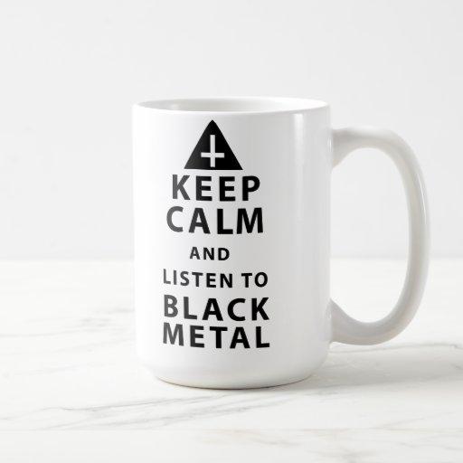 guarde la calma y escuche el metal negro t taza