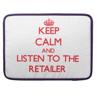 Guarde la calma y escuche el minorista funda para macbook pro