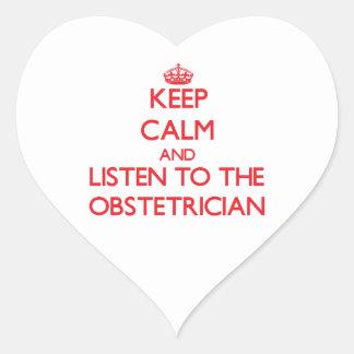 Guarde la calma y escuche el obstétrico pegatinas de corazon