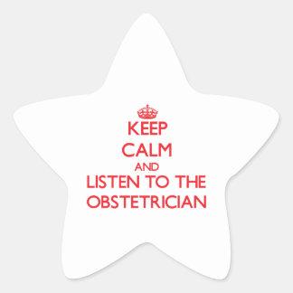 Guarde la calma y escuche el obstétrico calcomania forma de estrella personalizada