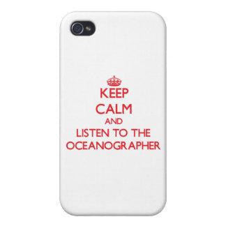 Guarde la calma y escuche el oceanógrafo iPhone 4 fundas