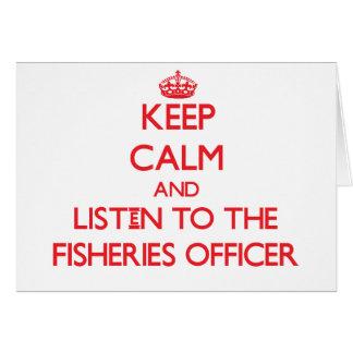 Guarde la calma y escuche el oficial de las indust tarjeta de felicitación