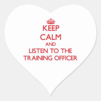 Guarde la calma y escuche el oficial del entrenami calcomanías corazones
