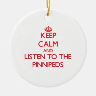 Guarde la calma y escuche el Pinnipeds Ornamentos Para Reyes Magos