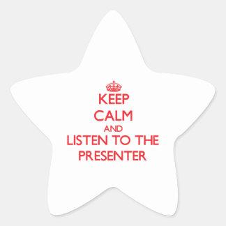 Guarde la calma y escuche el presentador colcomanias forma de estrellaes personalizadas
