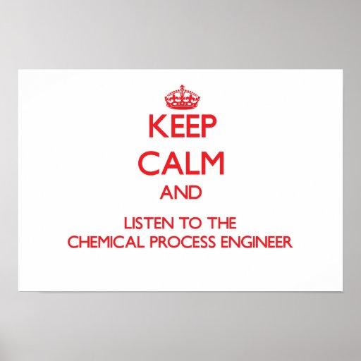 Guarde la calma y escuche el proceso químico Engin Impresiones