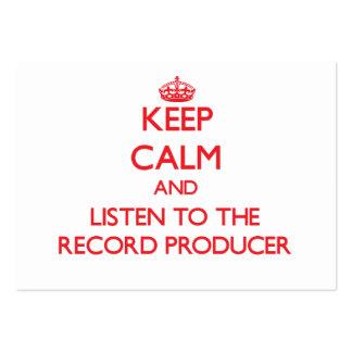 Guarde la calma y escuche el productor de registro plantillas de tarjetas de visita