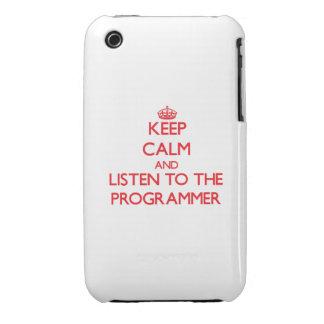 Guarde la calma y escuche el programador Case-Mate iPhone 3 cobertura