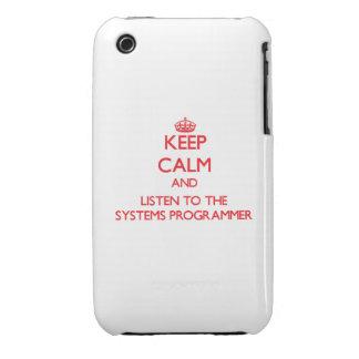 Guarde la calma y escuche el programador iPhone 3 Case-Mate carcasas