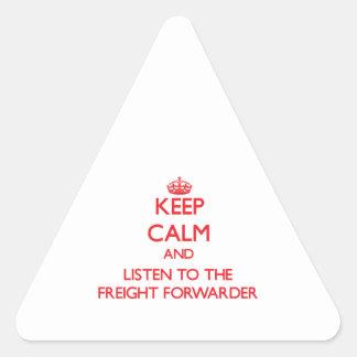 Guarde la calma y escuche el promotor de carga calcomanías de trianguladas