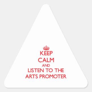 Guarde la calma y escuche el promotor de los artes colcomanias de triangulo personalizadas