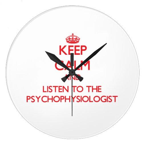Guarde la calma y escuche el psicofisiólogo relojes de pared