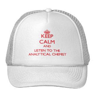 Guarde la calma y escuche el químico analítico gorras de camionero