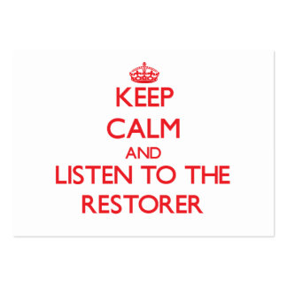 Guarde la calma y escuche el restaurador tarjetas de visita grandes