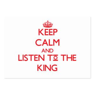 Guarde la calma y escuche el rey tarjeta personal