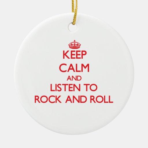 Guarde la calma y escuche el ROCK-AND-ROLL Adorno Redondo De Cerámica
