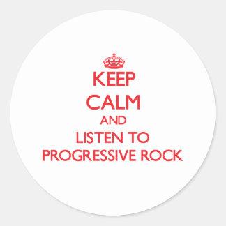 Guarde la calma y escuche el ROCK PROGRESIVO Pegatina Redonda