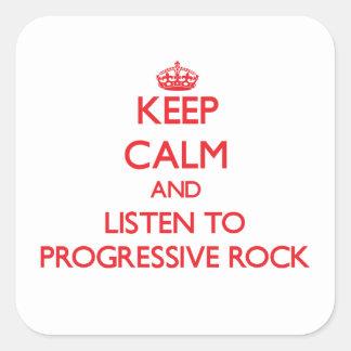 Guarde la calma y escuche el ROCK PROGRESIVO Calcomanía Cuadrada