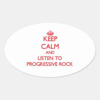 Guarde la calma y escuche el ROCK PROGRESIVO Calcomanía De Óval Personalizadas
