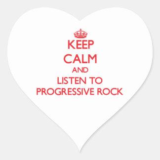 Guarde la calma y escuche el ROCK PROGRESIVO Calcomanía Corazón