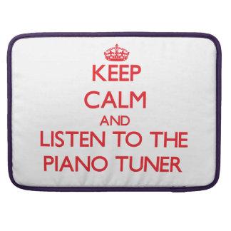 Guarde la calma y escuche el sintonizador de piano funda para macbook pro
