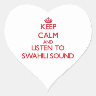 Guarde la calma y escuche el SONIDO del SUAJILI Calcomanía Corazón
