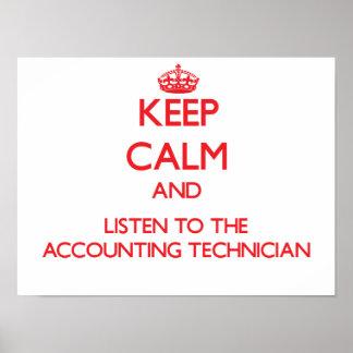 Guarde la calma y escuche el técnico de la contabi póster