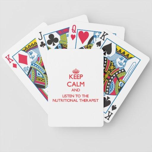 Guarde la calma y escuche el terapeuta alimenticio baraja de cartas