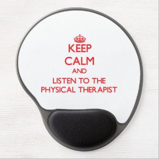 Guarde la calma y escuche el terapeuta físico alfombrilla de raton con gel