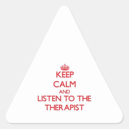 Guarde la calma y escuche el terapeuta colcomanias de trianguladas