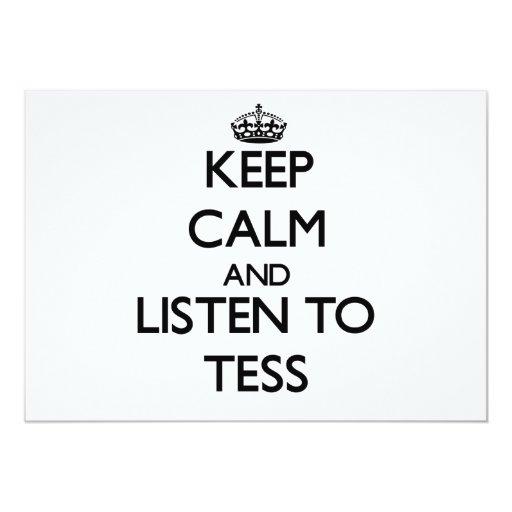 """Guarde la calma y escuche el Tess Invitación 5"""" X 7"""""""