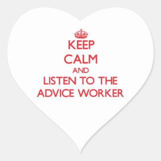 Guarde la calma y escuche el trabajador del consej calcomania corazon personalizadas