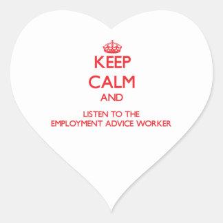 Guarde la calma y escuche el trabajo del consejo d pegatinas corazon personalizadas