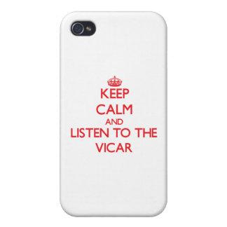 Guarde la calma y escuche el vicario iPhone 4 carcasas