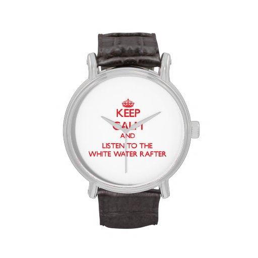 Guarde la calma y escuche el viga del agua blanca relojes