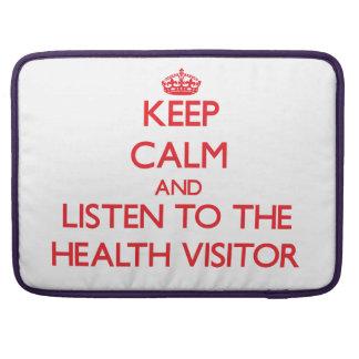 Guarde la calma y escuche el visitante de la salud funda macbook pro