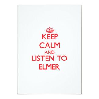 Guarde la calma y escuche Elmer Invitación 12,7 X 17,8 Cm