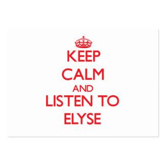 Guarde la calma y escuche Elyse Tarjetas De Visita Grandes