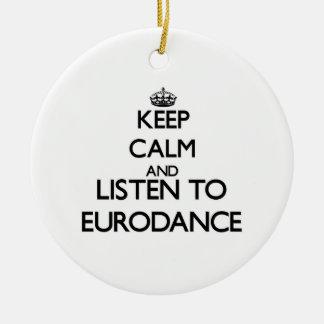 Guarde la calma y escuche EURODANCE Ornaments Para Arbol De Navidad