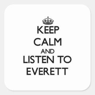 Guarde la calma y escuche Everett Pegatinas Cuadradases