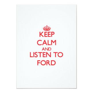 Guarde la calma y escuche Ford Comunicado